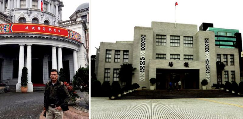 監察院掛上了行憲紀念日的紅布條(左);立法院議場,相當於北京人民大會堂。像個八十年代的高校禮堂是不是?(胡發雲提供)