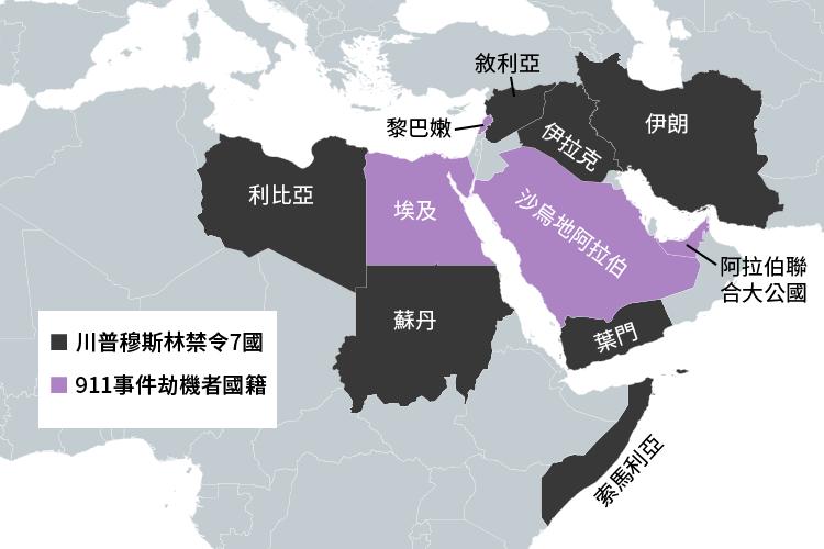 Infographic:川普穆斯林禁令7國和911事件劫機犯國籍比較圖(風傳媒製圖)