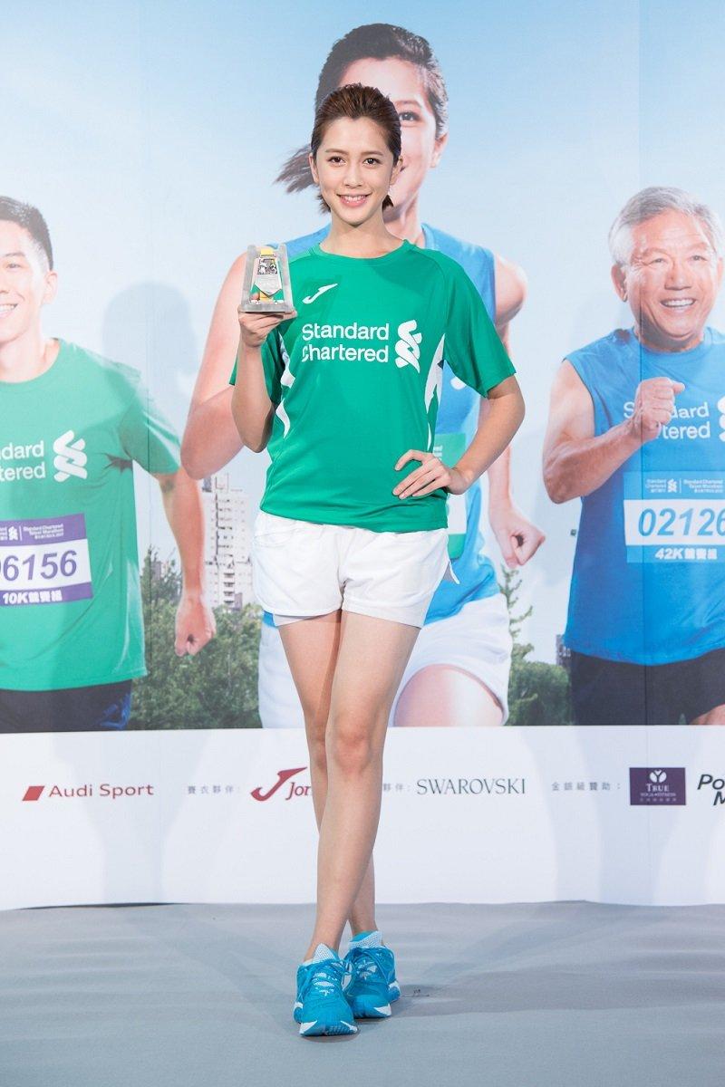 藝人李毓芬在過年期間加緊努力健身與練跑,希望當天能順利跑完2公里的領袖盃。(圖/渣打國際商業銀行提供)