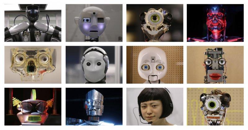 英國倫敦的科學博物館本月起舉辦機器人展覽,多個機器人的臉並置在這張照片裡(AP)