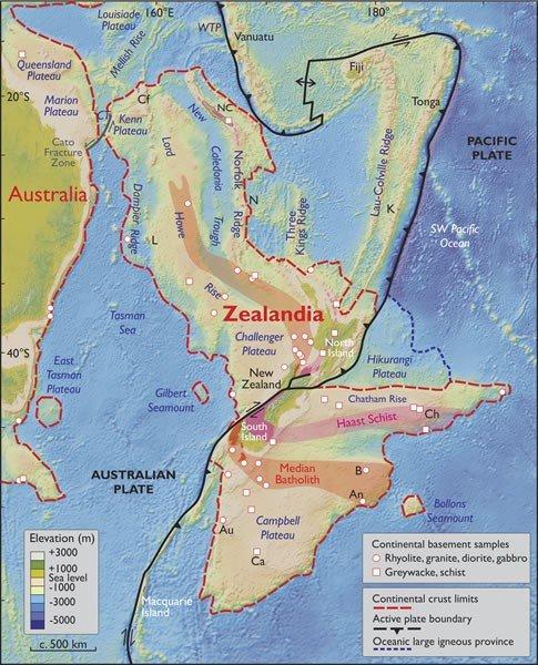 紐西蘭大陸海拔示意圖。(圖/《紐西蘭大陸:地球隱藏的大陸》報告)