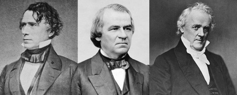 左起:皮爾斯、強森、布坎南(Wikipedia / Public Domain)