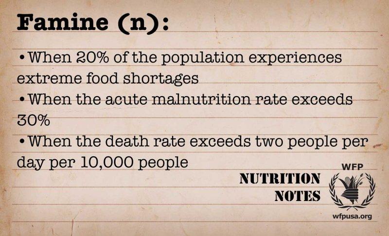 世界糧食計劃署對「饑荒」(famine)的定義(WFP)