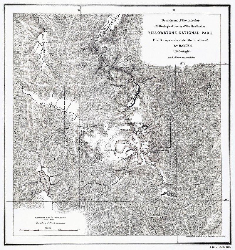 海登繪製的黃石區地圖。(wikipedia/public domain)