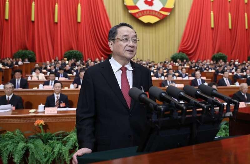 大陸政協主席俞正聲工作報告涉及台灣者不過百字,透露的訊息是不再急於叫醒裝睡的蔡英文。(新華社)