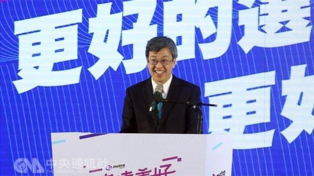 台灣副總統陳建仁,出席機場捷運通車典禮。(圖/ 中央通訊社,BBC中文網提供)