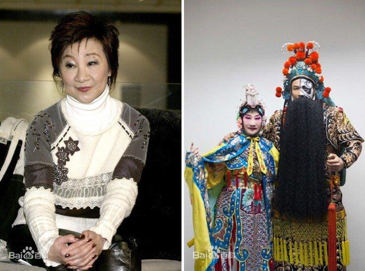 王復蓉(左),王復蓉和兒子陶喆的「霸王別姬」京劇扮相。(百度百科)