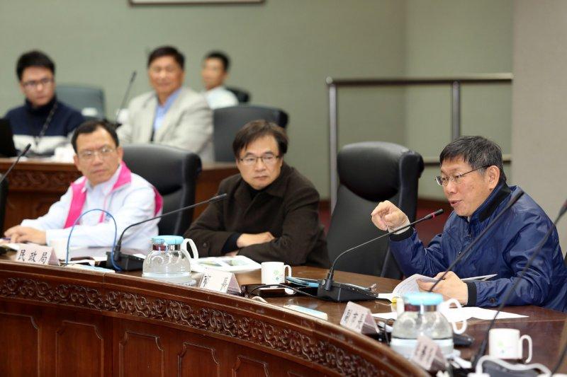 臺北市長柯文哲7日主持市長與里長市政座談會中正區第一場次。(台北市政府提供)