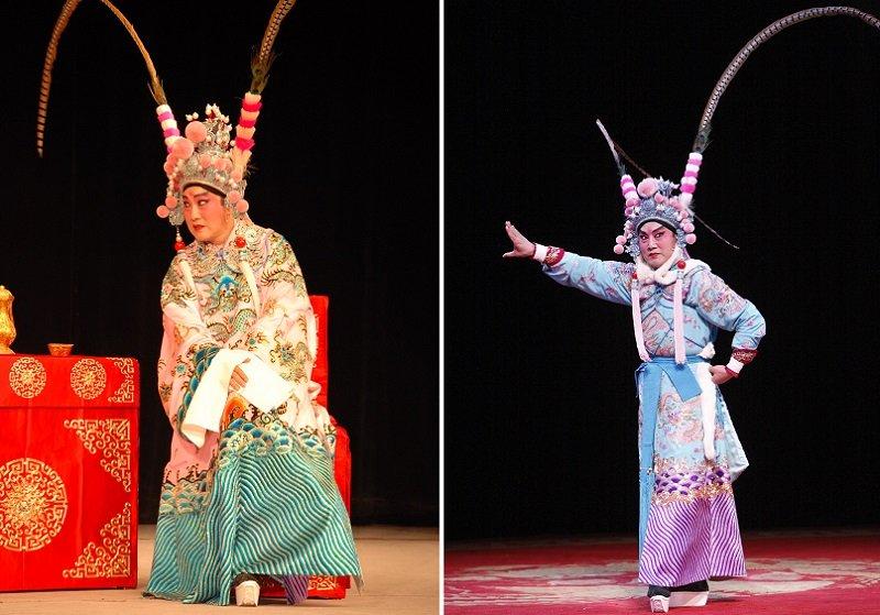 曹復永飾演的呂布(左)和陸文龍(右)。(台灣戲曲學院提供)