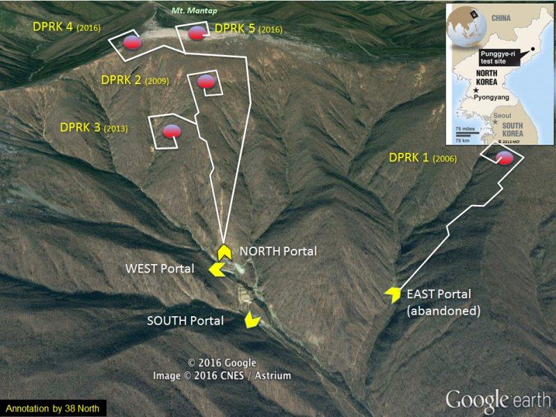 北韓咸鏡北道吉州郡的豐溪里核彈試爆場(38 North)