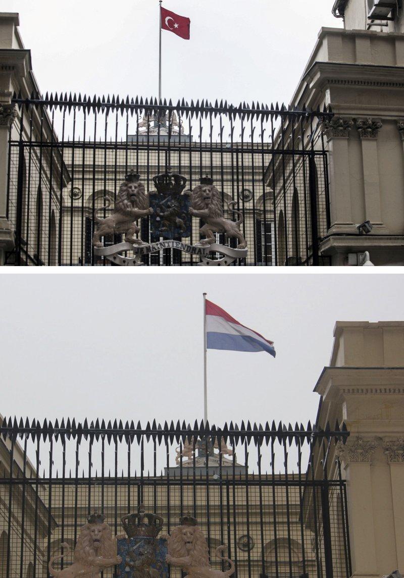 荷蘭駐伊斯坦堡總領事館的荷蘭國旗被1名土耳其男子爬上屋頂換成土耳其國旗(AP)