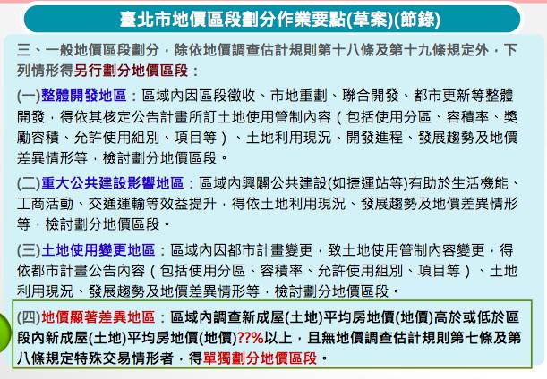20170313-台北市地價區段劃分作業要點草案。(台北市地政局提供)