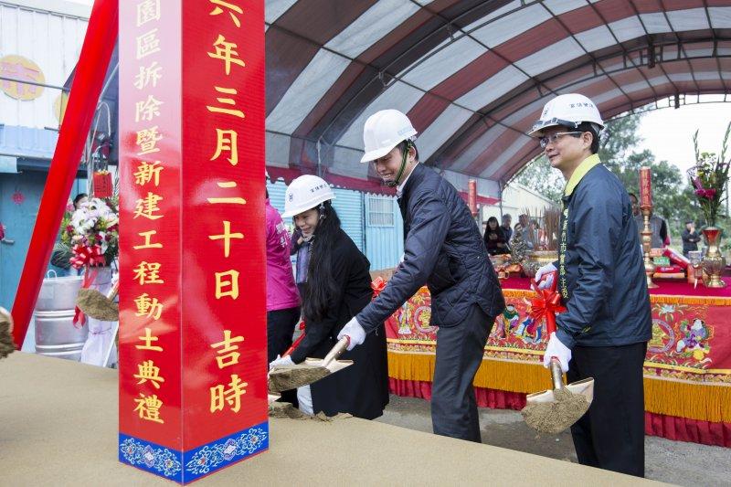 1060320-新竹市市長林智堅主持今日的「動物保護教育園區」動土儀式。(新竹市政府提供)