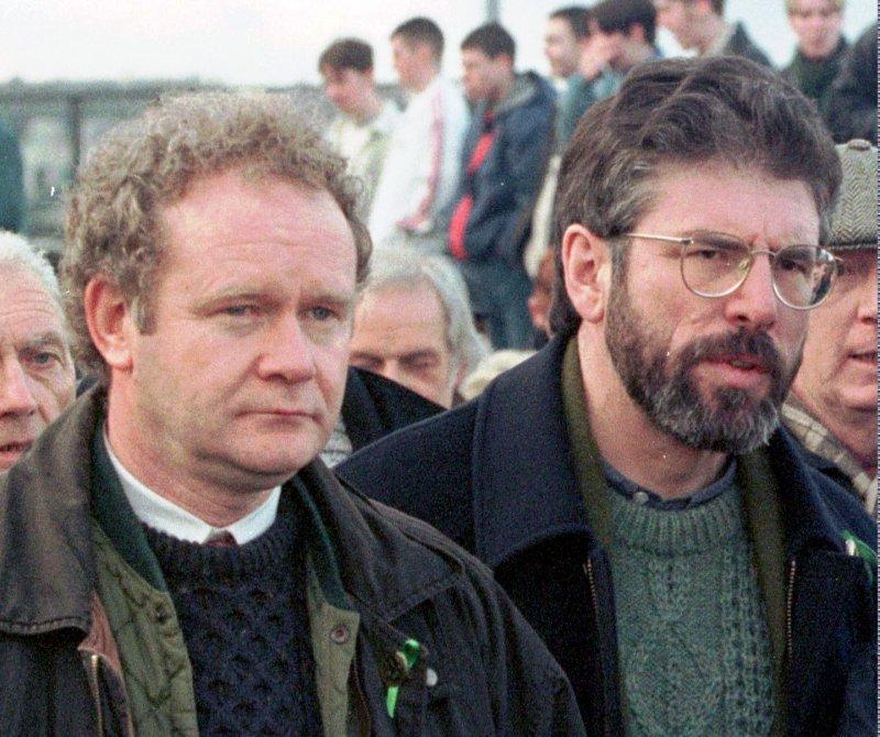 北愛爾蘭,新芬黨,愛爾蘭共和軍,IRA,麥吉尼斯,亞當斯。(美聯社)