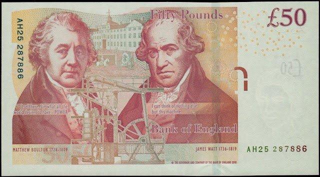 英格蘭銀行在2011年發行的50英鎊面額鈔票。 (圖由作者提供)