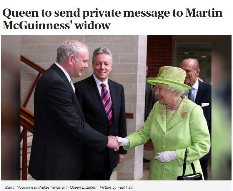 麥吉尼斯與英國女王的握手鏡頭,成為北愛爾蘭和平進程最具代表性的畫面。