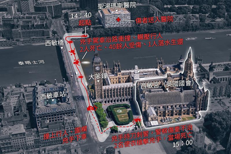 倫敦國會攻擊案-事發經過(圖/Google地圖+李承祐後製)