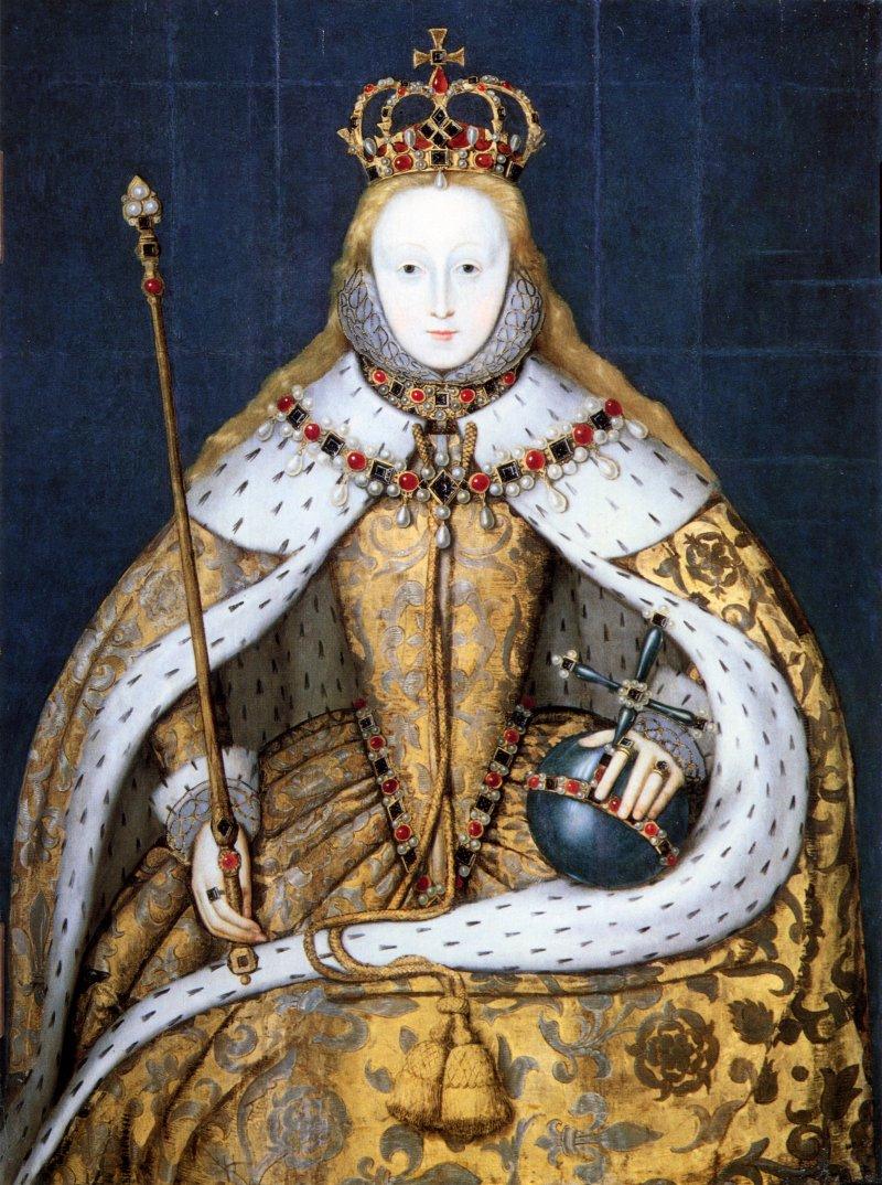身著白鼬毛皮縫製、繪有都鐸玫瑰圖案的加冕禮禮服的伊莉莎白一世。(Wikipedia/Public Domain)