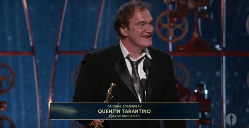 昆汀塔倫提諾以《決殺令》獲得奧斯卡最佳原創劇本獎。(截圖自YouTube)