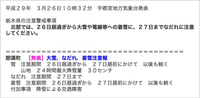 宇都宮地方氣象台曾在26日發布雪崩警報。