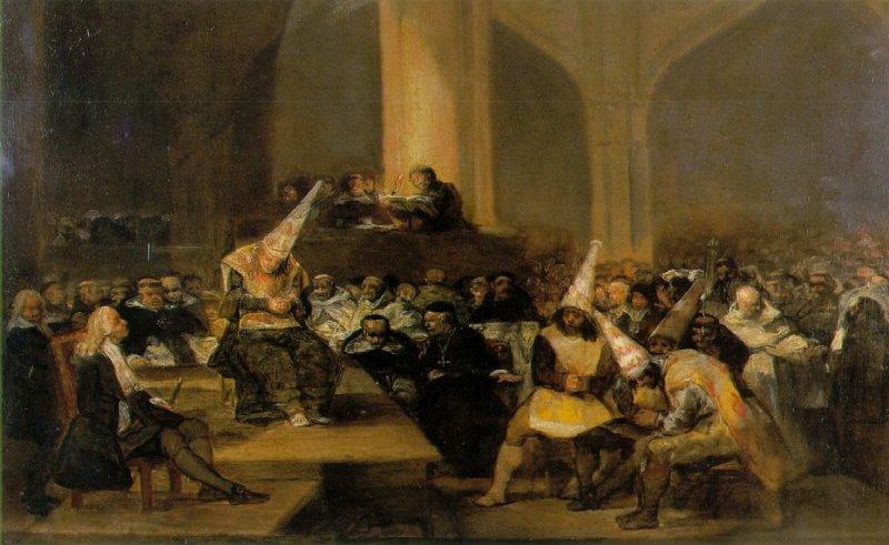 戈雅所繪的異端裁判所想像圖。(維基百科公有領域)