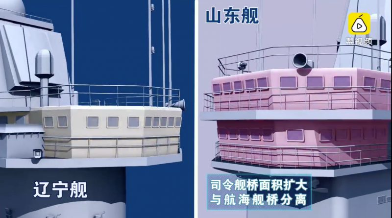 山東艦與遼寧艦的細部差異。