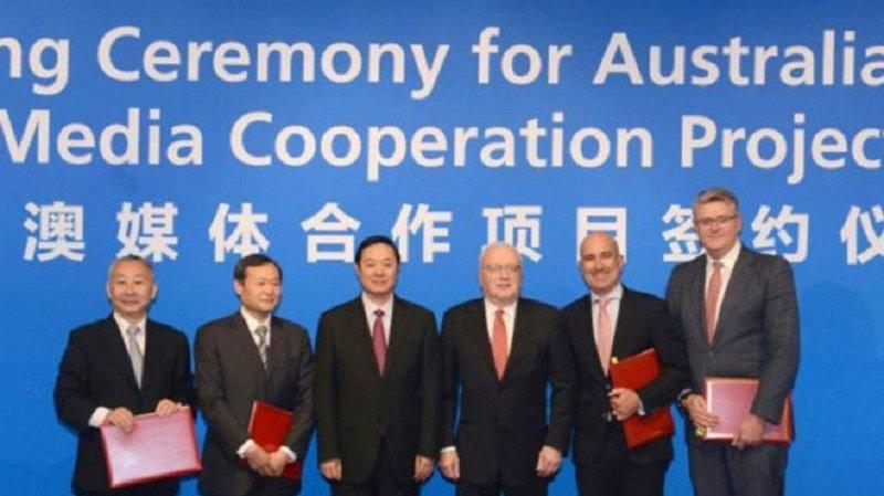 中共中宣部部長劉奇葆2016年中,訪問秉梨與澳大利亞頂尖媒體公司簽署一連串協議。(新華社)