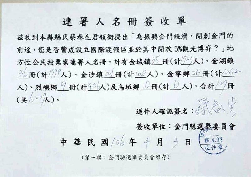 金門縣議員蔡春生提出博弈連署書。(取自反賭博合法化聯盟臉書)