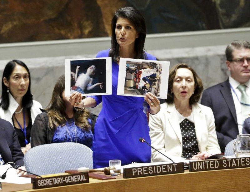 美國駐聯合國大使海莉5日痛批阿塞德使用化武,要求聯合國安理會行動。(美聯社)