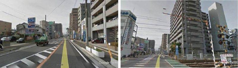 沿著春日市春日中央通從超商SUNNY往前走,第三棟大樓是一棟13層樓公寓,大樓正面後退部分設為一樓店舗井上眼科診所的停車場(左圖)。另外,在大樓後面設置與大樓等高的立體停車塔,提供住戸停車位(右圖)。(圖/作者,想想論壇提供)