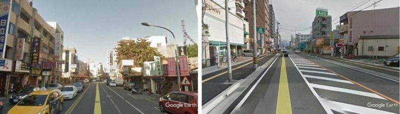 比較彰化市中正路二段(左圖)與春日市春日中央通(右圖),發覺我們的樓房没有比人家高,我們的道路總寛度不比人家狹窄,但是人家道路兩旁各有一條安全的人行道,我們什麼也没有。(圖/作者,想想論壇提供)