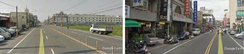 左:彰化、和美間的彰美路,台灣郊外公路的典型,没有人行道設計。右:彰化市中華路,台灣中小都市街道的典型,没有人行道設計。(圖/作者,想想論壇提供)
