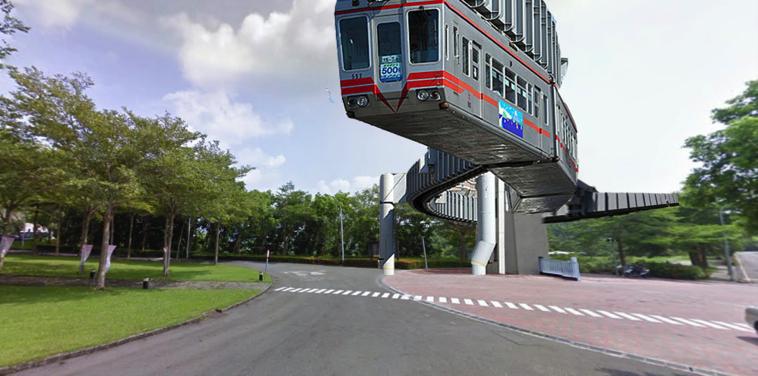 圖片取自GOOGLE地圖影像合成單軌電車經過實踐大學高雄校區。(王繼維提供)