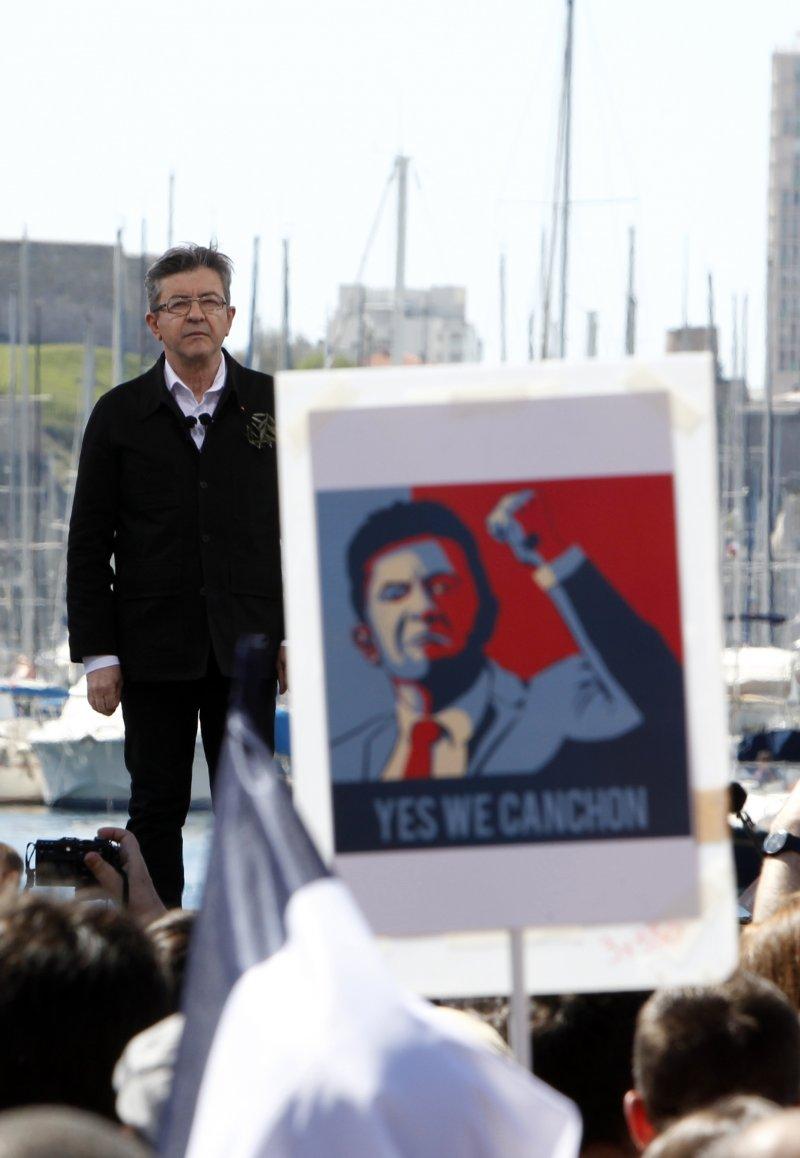 法國極左派總統候選人梅蘭雄的人氣直升(AP)