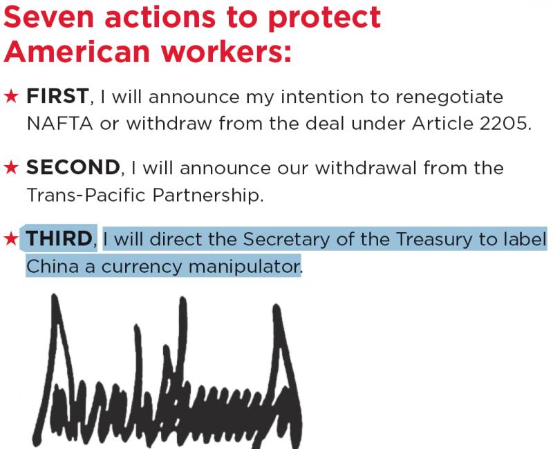 川普選前發表的〈川普與美國選民的契約〉明言要將中國列為「匯率操縱國」(網路截圖)