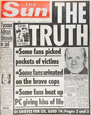 《太陽報》以斗大的標題「真相」(The Truth)報導希爾斯堡慘案。(wikipedia/fair use)