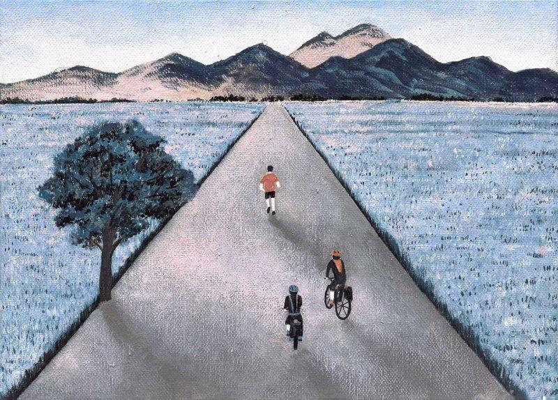 清晨在人煙稀少的台東伯朗大道騎車,是徐至宏最難忘的環島回憶之一。(圖/HOM@Facebook)