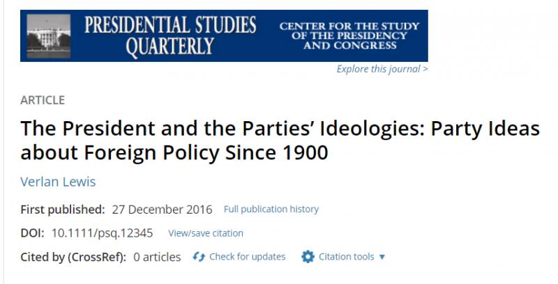 有美國的學者研究發現,過去100多年的美國總統,發現不管他們選前是如何信誓旦旦、打了競選包票,最後幾乎都走上了干涉主義的外交政策(圖/取自美國總統季刊網站)