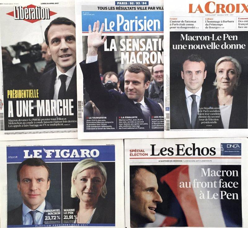法國總統大選4月23日進行第一輪投票,中間派候選人馬克宏與極右派候選人勒潘勝出(AP)