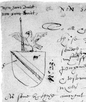 1596年,莎士比亞代替父親申請的家徽(Wikipedia/Public Domain)