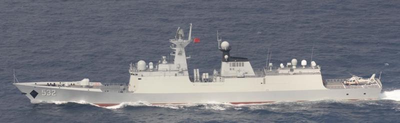 中國海軍荊州號護衛艦。(日本統合幕僚監部)