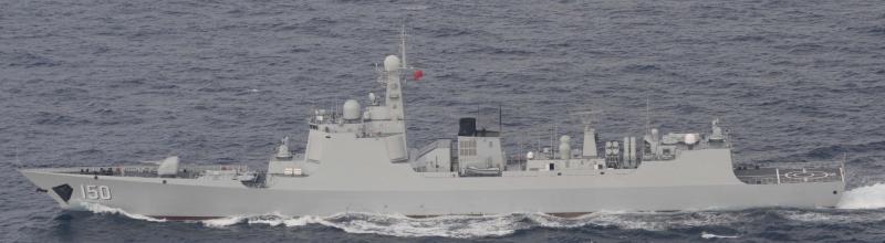 中國海軍長春號飛彈驅逐艦。(日本統合幕僚監部)