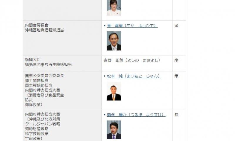 今村26日才剛辭職,日本首相官邸主頁就已改成新任的吉野正芳。(翻攝日本首相官邸官網)