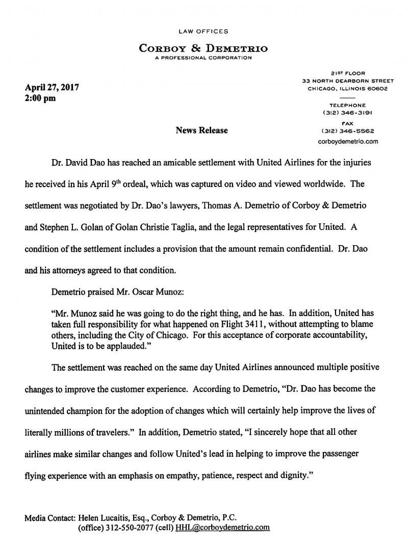 美國聯合航空公司與乘客杜成德達成和解,律師事務所代發聲明(Corboy & Demetrio)