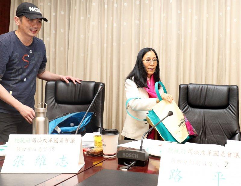 20170428-總統府司法改革國是會議第四分組會議上午召開。圖為分組召集人許玉秀(右)、委員張維志(左)出席。(蘇仲泓攝)