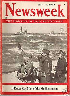 1940年的《新聞周刊》報導:「領袖」墨索里尼——地中海關鍵人物。(維基百科公有領域)