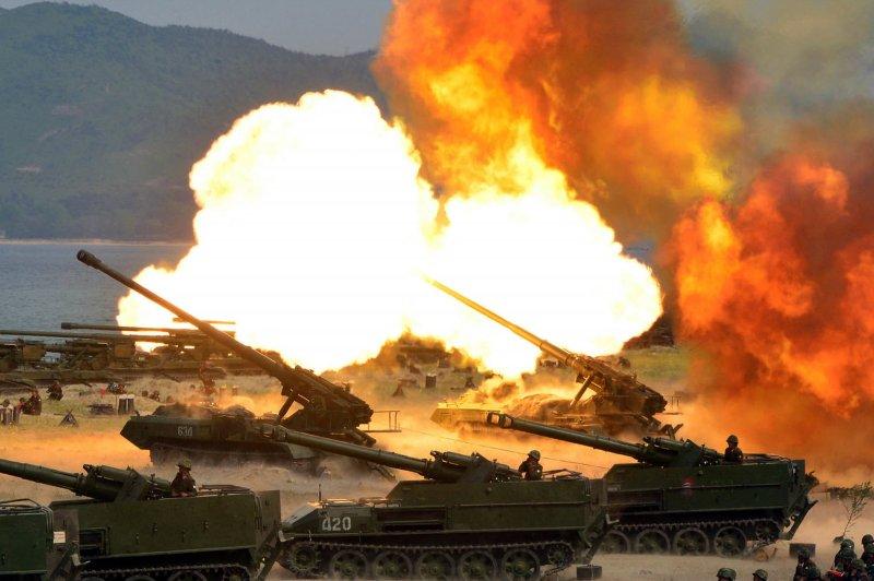 2017年4月,北韓進行歷來最大規模的火砲實彈演習(AP)