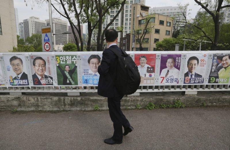 歷經前總統朴槿惠彈劾案的風暴,社會特別關注南韓總統大選走向。(美聯社)