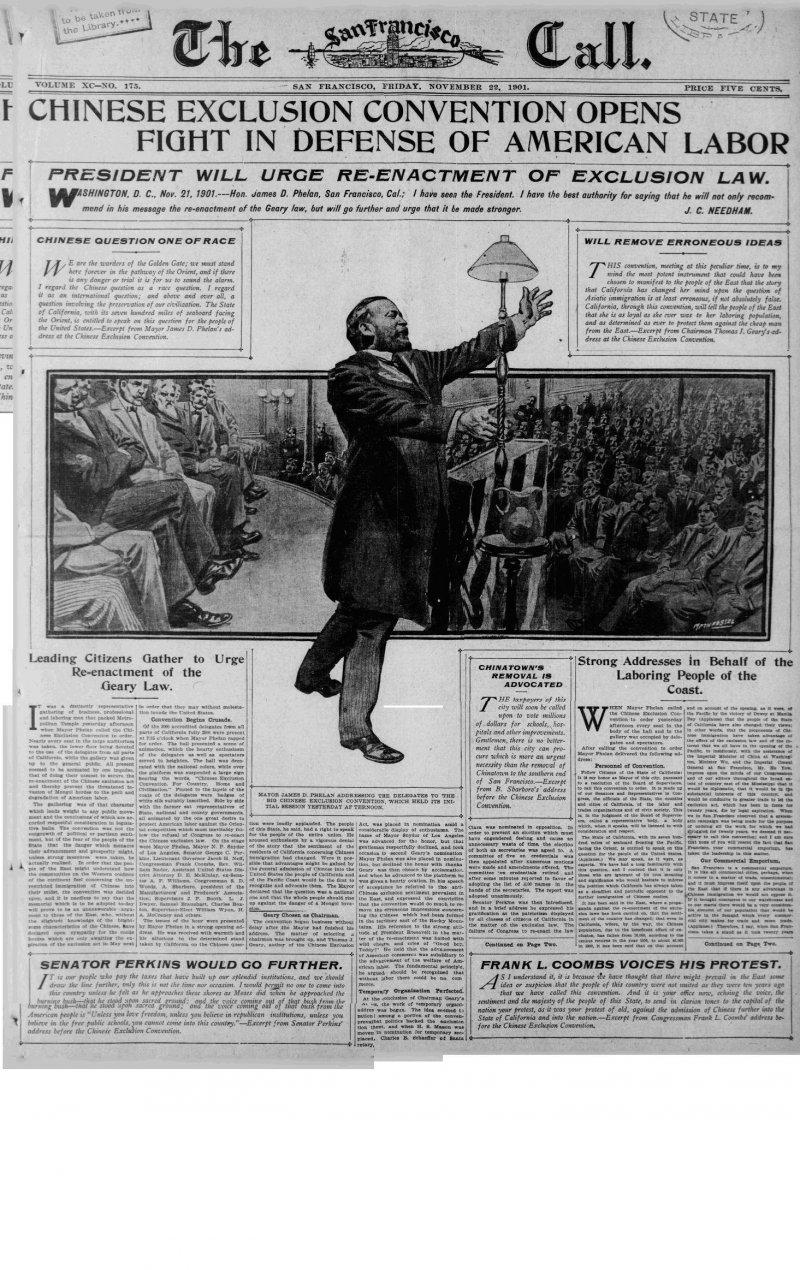 1901年11月20日,《舊金山呼聲報》(San Francisco Call)頭版關於排華法案的新聞(Wikipedia/Public Domain)