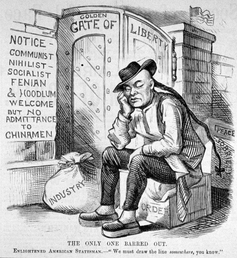 19世紀描述《排華法案》的漫畫(Wikipedia/Public Domain)